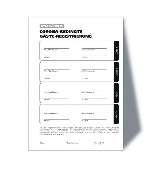 Corona Gästeregistrierung / A5 Hochformat