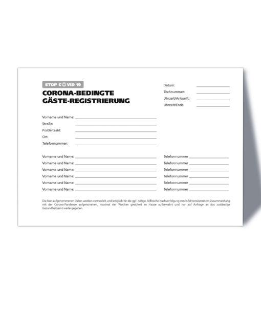 Corona Gästeregistrierung / A5 Querformat